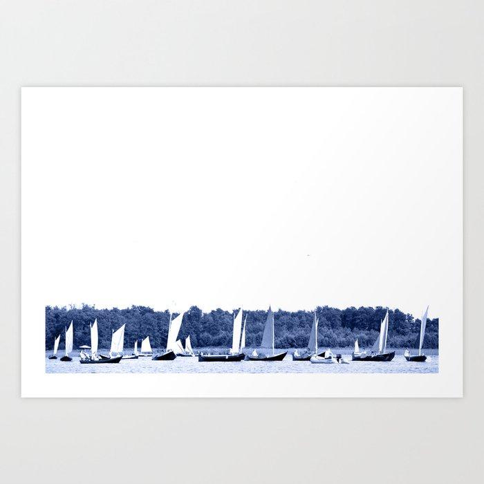 Dutch sailing boats in Delft Blue colors Kunstdrucke
