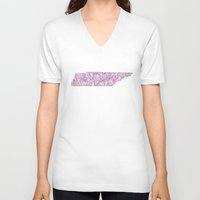 tennessee V-neck T-shirts featuring Tennessee in Flowers by Ursula Rodgers