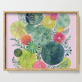 Succulent Circles on Pink Serving Tray