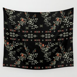 Seamless abstract floral pattern on black background Wall Tapestry