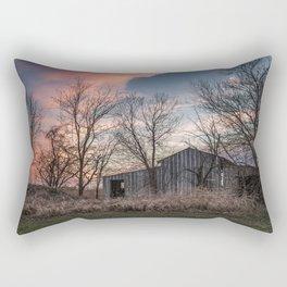 Evening Shade - Old Barn Hidden in Trees at Sunset in Kansas Rectangular Pillow