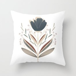 Blue Flower Bouquet // Hand Drawn Art // Dark Blue and Brown Leaves Throw Pillow