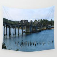 florence Wall Tapestries featuring Siuslaw River Bridge - Florence  by Christiane W. Schulze Art and Photograph