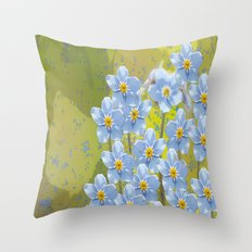 Forget-me-not flowers - watercolor art on green background Throw Pillow