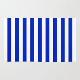 Cobalt Blue and White Vertical Beach Hut Stripe Rug