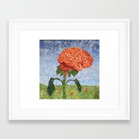 biology Framed Art Prints featuring Biology: Brain by Textility