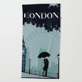 London vintage poster travel Beach Towel