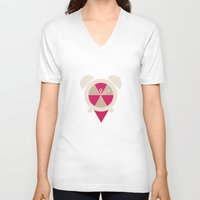 clock V-neck T-shirts featuring Clock by Halamo Designs