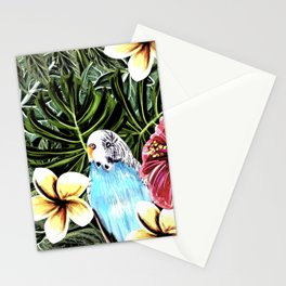 Tropical bird with floral texture Stationery Cards