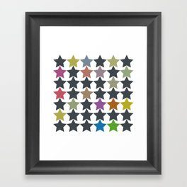 Colorful Star Pattern Framed Art Print