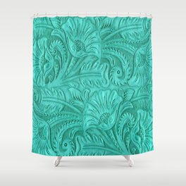 Turquoise Tooled Leather Print Shower Curtain