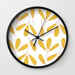 Retro Yellow Leaves Wall Clock
