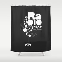 radiohead Shower Curtains featuring Radiohead song - Last flowers illustration white by LilaVert