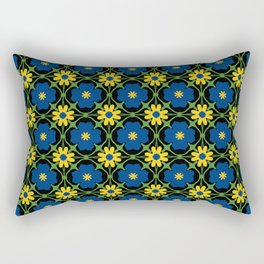 Blue and yellow floral vines Rectangular Pillow
