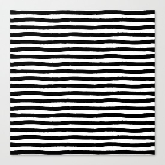 Black And White Hand Drawn Horizontal Stripes Canvas Print
