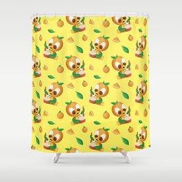 Orange Bird Citrus Swirl Shower Curtain