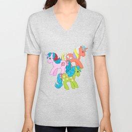 g1 my little pony unicorns Unisex V-Neck