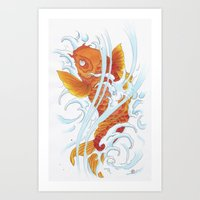 koi fish Art Prints featuring Koi Fish by Give me Violence