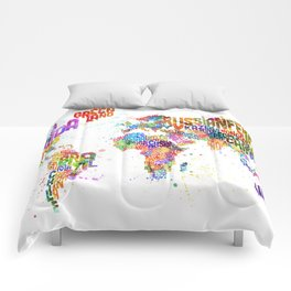 Paint Splashes Typography Text World Map Comforters