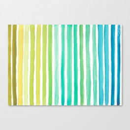 Blue Green Watercolor Stripes  Canvas Print