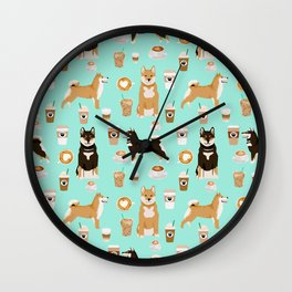 Shiba Inu coffee dog breed pet friendly pet portrait coffees pattern dogs Wall Clock