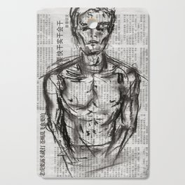 Strategy - Charcoal on Newspaper Figure Drawing Cutting Board