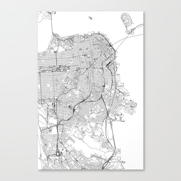 San Francisco White Map Leinwanddruck