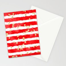Modern red watercolor stripes gold confetti pattern Stationery Cards