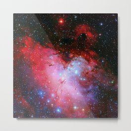The Eagle Nebula Red Blue Galaxy Metal Print