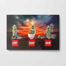 EAT SHIT RUN CYCLOPS LEGO Metal Print