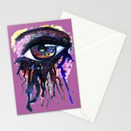 Rainbow eye splashing watercolor and ink Stationery Cards