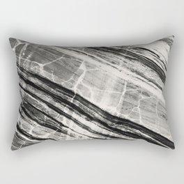 Abstract Marble - Black & Cream Rectangular Pillow