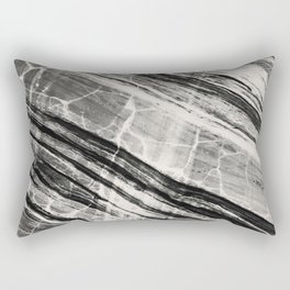 Abstract Marble - Black & Cream Rectangular Pillow