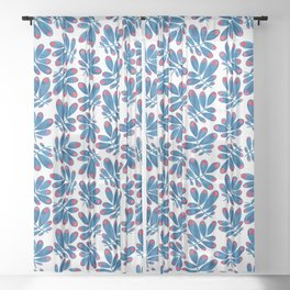 Blue leafs Sheer Curtain