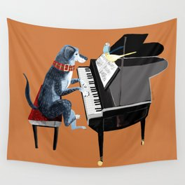 Piano lesson with Angel Wall Tapestry