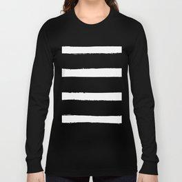 Black & White Paint Stripes by Friztin Long Sleeve T-shirt