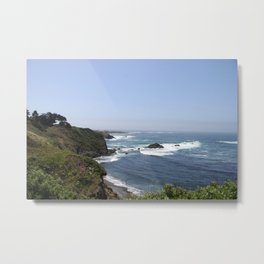 Crashing Waves On California Coastline Metal Print