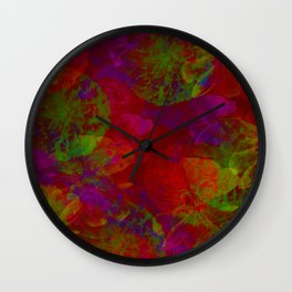 Abstract Floral Collage - Reds Wall Clock
