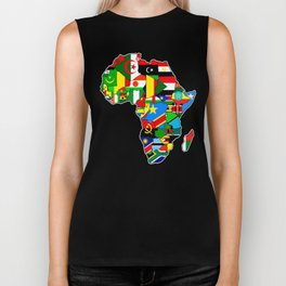 Flags of African countres Africa map Biker Tank