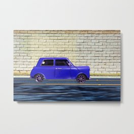 blue classic car on the road with brick wall background Metal Print