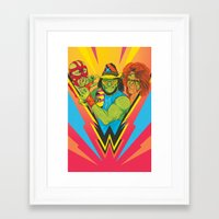 wrestling Framed Art Prints featuring Classic Wrestling by RJ Artworks