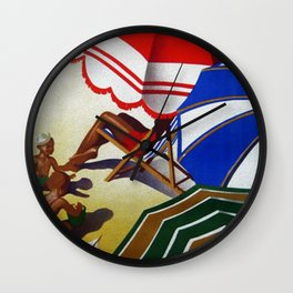 Vintage Spain Beach Travel Poster Wall Clock