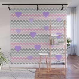 Pink Grey Ombre Chevron with Purple Hearts Wall Mural