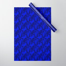 Intersecting bright blue rhombs and black triangles with square volume. Wrapping Paper