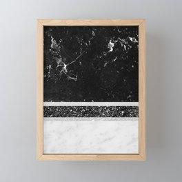 Black and White Marble Black Glitter Stripe Glam #1 #minimal #decor #art #society6 Framed Mini Art Print