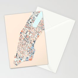 New York City Colorful Map-Manhattan Stationery Cards