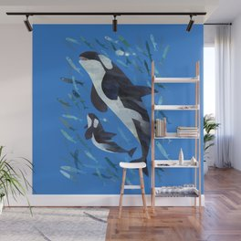 Killer Whale and Baby Wall Mural