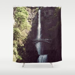 Multnomah Falls Waterfall - Nature Photography Shower Curtain