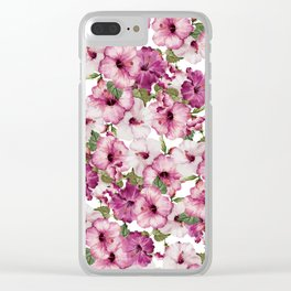 Hibiscus Pattern Clear iPhone Case