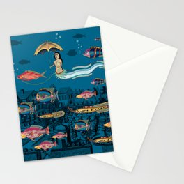 Mermaid and red fish pet Stationery Cards